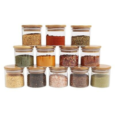 small glass canister with natural bamboo lid airtight sealing mini spice jars ebay