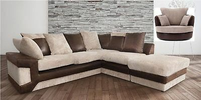 new jumbo cord fabric kimberley corner sofa with matching cuddle chair brown ebay