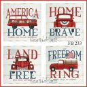 ~ Vintage 4th of July Home Sweet Home Red Trucks 4 Prints on Fabric FB 233 ~