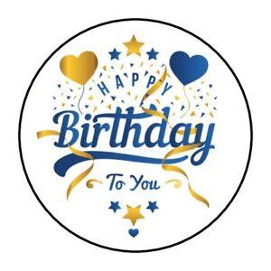 30 Happy Birthday To You Envelope Seals Labels Stickers 1 5 Round Blue Gold Ebay