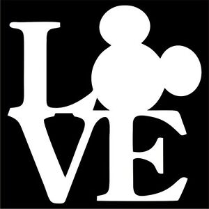 Download Mickey Mouse LOVE Vinyl Decal / Sticker - Choose Color ...
