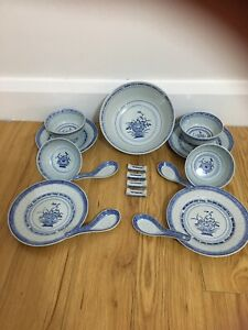 Vintage Chinese Rice Grain Bowls And Spoons