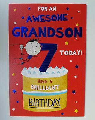 For An Awesome Grandson Age 7 Today 7th Happy Birthday Card Lovely Verse Ebay