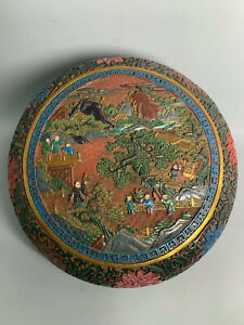 Chinese Antique Lacquerware Carved Figure Box