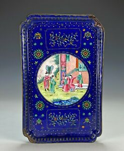 Antique Chinese Peking Canton Enamel with Figures and Silver
