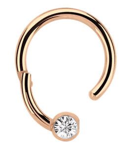 Lippenbändchen Piercing Ring BCR 1,2mm Rose Gold mit Clicker Verschluss + Stein