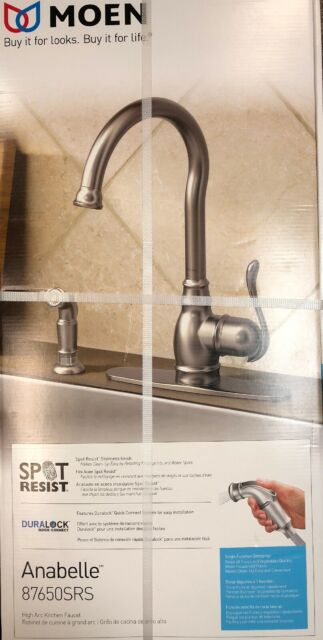 moen 87650srs spot resist stainless anabelle anabelle high arc kitchen faucet with side sp