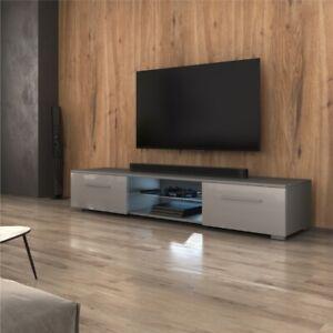 details sur meuble tv meuble de salon syvis 140 cm gris blanc noir chene wotan eclairage led