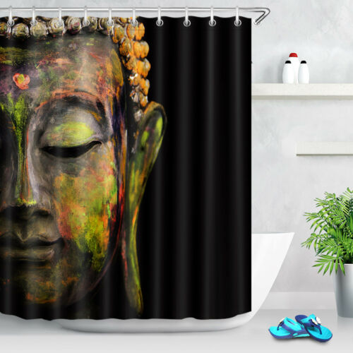 bathroom supplies accessories 72x72 face of buddha shower curtain liner bathroom waterproof fabric 12 hooks garden curtains