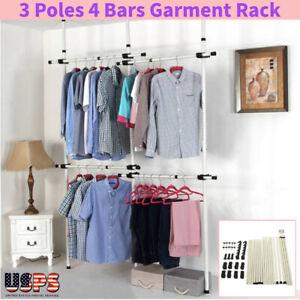 details about 4 pole home adjustable garment hanger clothes rack closet wardrobe heavy duty us