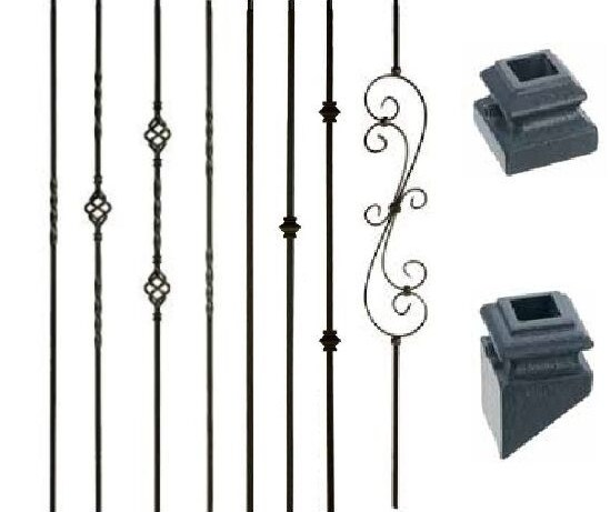 Wm Coffman Satin Black Double Twist Hollow Iron Baluster Building   Iron Balusters For Sale   Double Basket   Rustic   Square   Indoor   Cast Iron