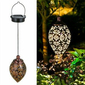 details about led moroccan solar garden hanging lantern iron patio yard light outdoor decor