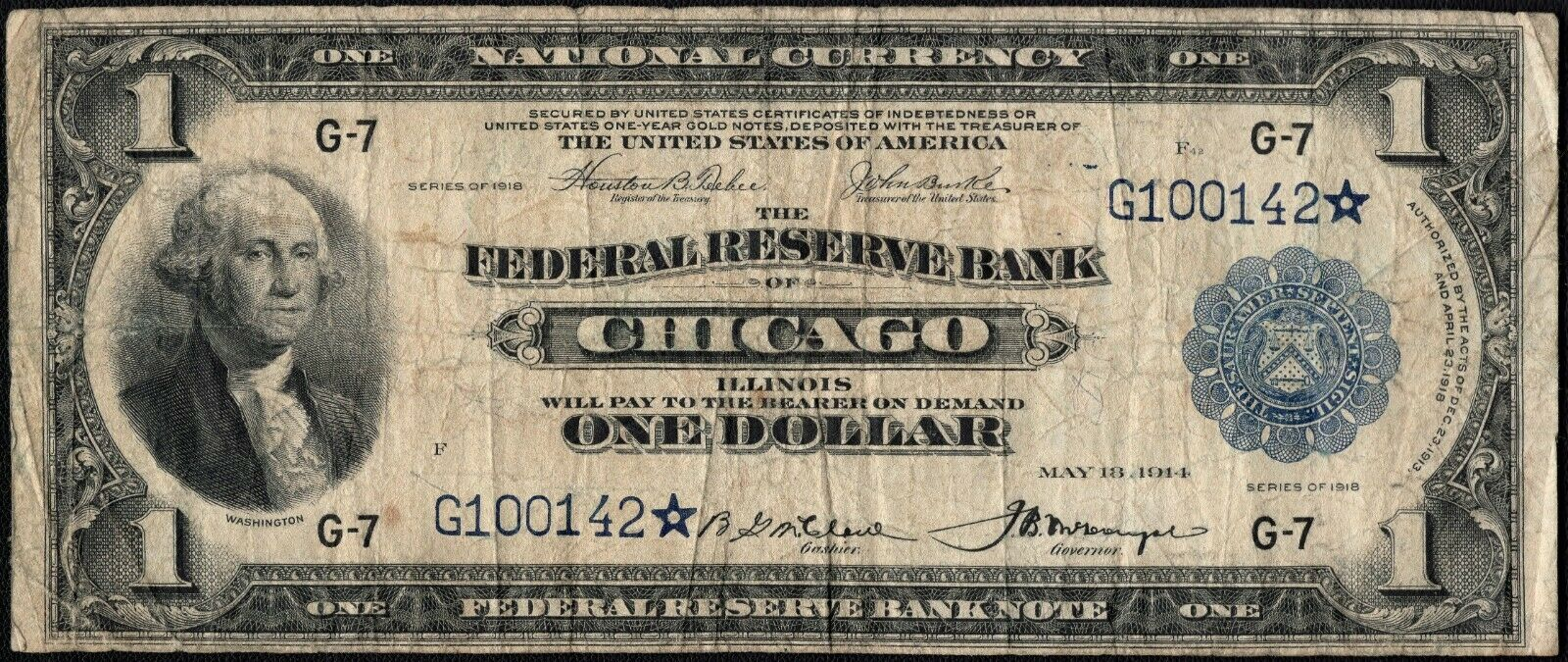 1918 Star  One Dollar Green Eagle Chicago National Note Fr#727*