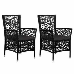 details sur vidaxl 2x chaise salle a manger de jardin resine tressee fauteuil noir marron