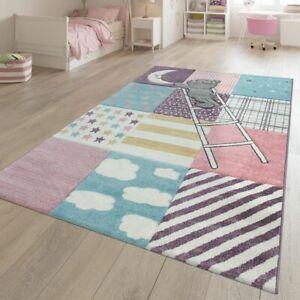 details sur tapis jeu chambre enfant poils ras motif carreaux ours effet 3d rose violet bleu