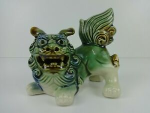 "Vintage Chinese Foo Dog Majolica Pottery Glaze Green 5"" Traditional Guardian"