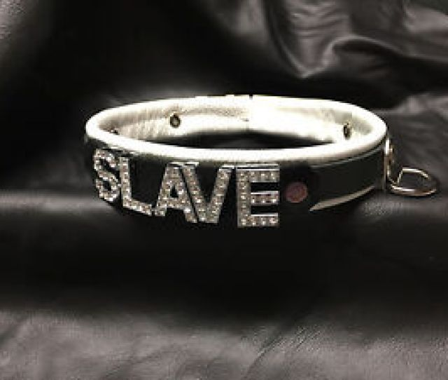 Image Is Loading White Leather Locking Choker   Wide Collar