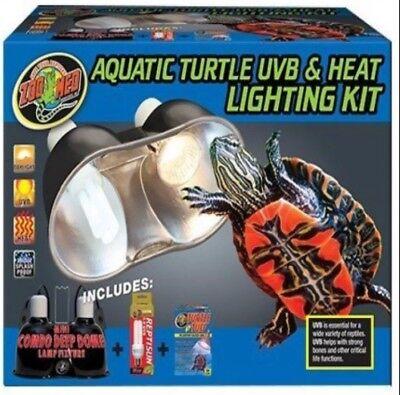 zoo med aquatic turtle uvb heat lighting kit deep dome ebay