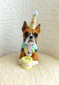Boxer Cropped Ears Happy Birthday Dog Sculpture Clay By Raquel At Thewrc Ebay