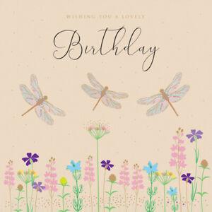 Tracks Greeting Card Sparkle Happy Birthday Card Dragonflies Ebay