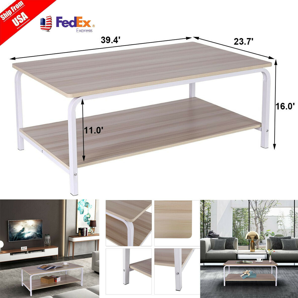 Modern Coffee Table Tea Sofa Side Metal Box Frame Living Room Stand Rectangle For Sale Online