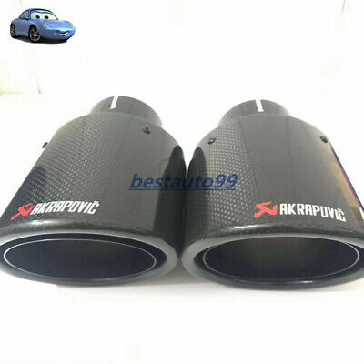 1x oval slanted akrapovic carbon fiber exhaust tip exhaust muffler pipe 51 105mm ebay
