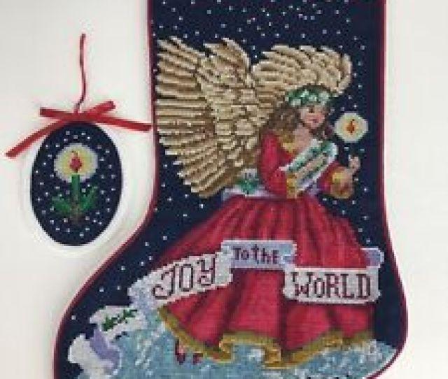 Image Is Loading Joyful Angel Christmas Stocking Ornament Finished Personalized Elaine
