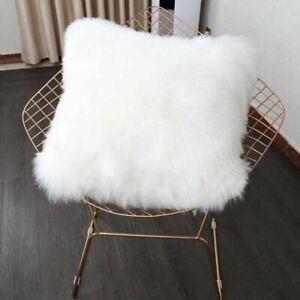 details about white fur fluffy plush throw pillow cases shaggy soft chair sofa cushion cover
