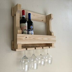 details about wall hanging wine rack glass holder rustic modern wall mounted wine rack