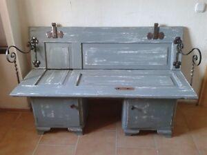 Sitzbank Holz Upcycling Shabby style mit Metallbeschläg