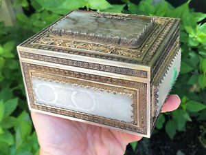 RARE LARGE GORGEOUS ANTIQUE CHINESE SILVER & JADE / HARDSTONE BOX / TEA CADDY