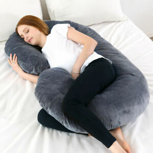 details about pregnancy body pillow with velour cover c shape nursing pillow for pregnant lady