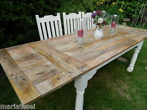 Large Rustic Oak Finish Farmhouse Kitchen Dining Table Extending 8 5ft Painted Ebay