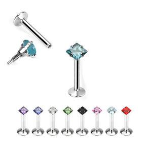 Micro Ohr Helix Tragus Piercing Stecker Labret mit kleinem eckigem Kristall