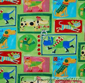 BonEful FABRIC FQ Cotton Quilt Red White Green Xmas Dog
