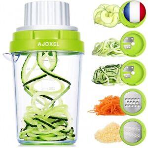 details sur ajoxel coupe legumes spirale 5 en 1 rape legume manuel spiraliseur de legumes u