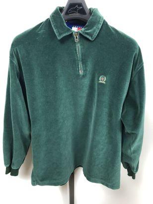 Image 01 - Vintage Tommy Hilfiger Velour Polo long sleeve Shirt Men's Medium Flag Logo