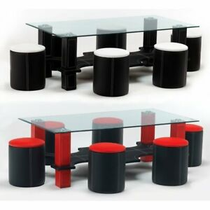 details about luxor glass coffee table six faux leather stools black white or red