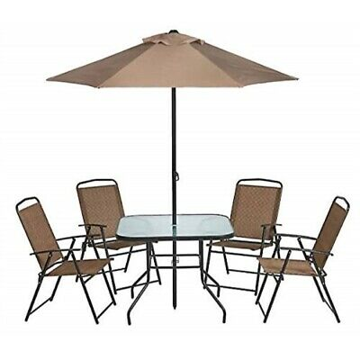 6 piece folding patio set umbrella outdoor furniture dining pool deck 4 chairs