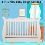 3 In 1 Sleigh Baby Cot Bed Crib Toddler Bed Espresso With Drawer Mattress For Sale Online Ebay