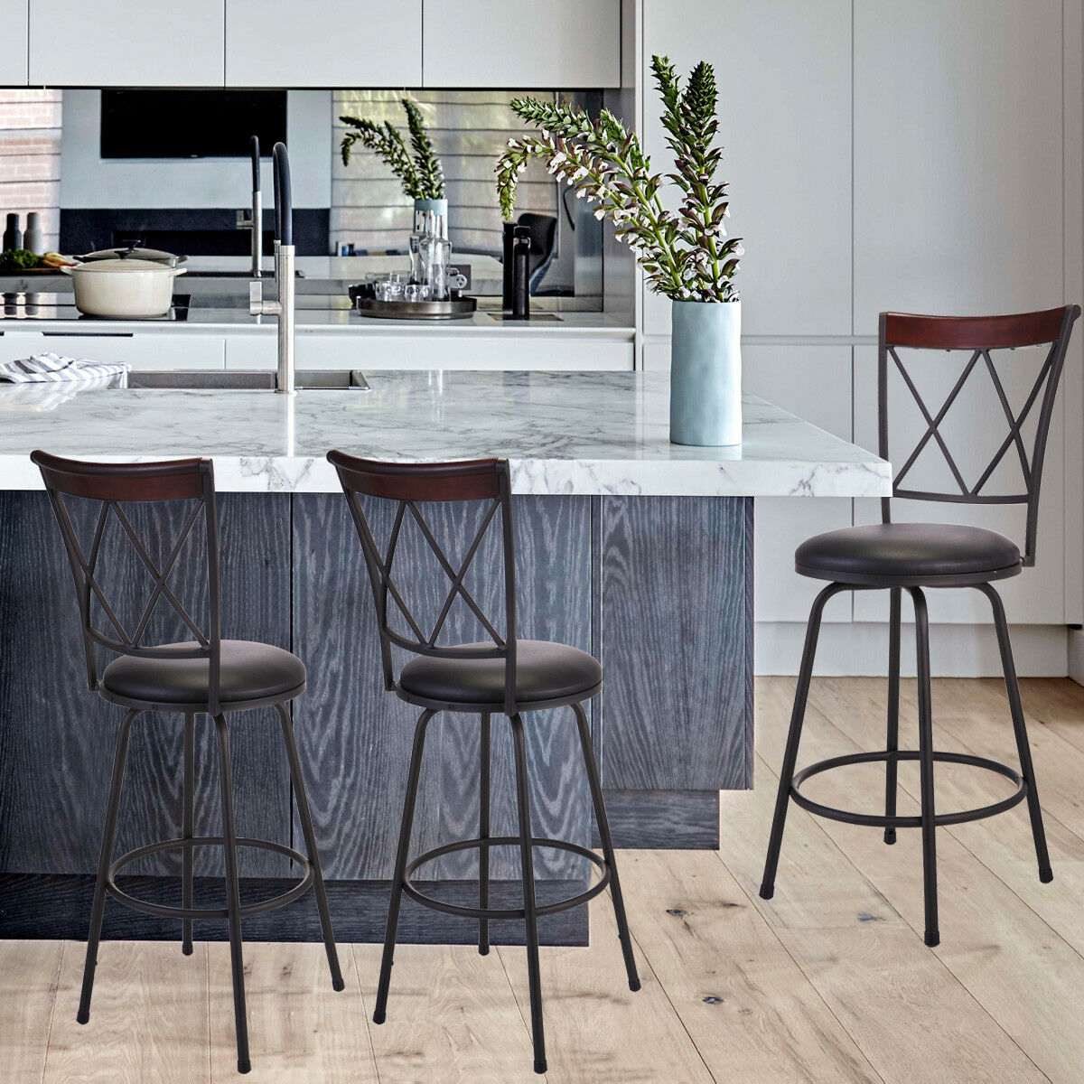 Four Black Metal Kitchen Counter Chairs For Sale Online Ebay