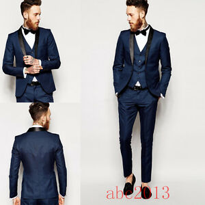 Mens Dark Blue Formal 3 PCS Slim Fit Check Retro Suit