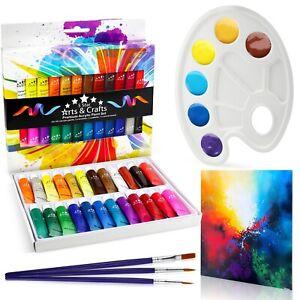 24 Peinture Acrylique Set Tube 12 Ml Inc Pinceaux Palette Toile Ebay