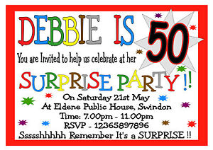 Home Garden Invitations Stationery 50th 70th 60th 30th 40th Personalised Suprise Birthday Party Invitations