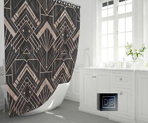 details about modern art deco shower curtain geometric pattern bathroom decor