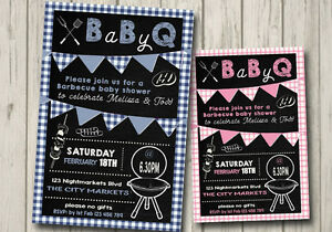 Details About Baby Q Shower Invitation Boy Party Invite Bbq