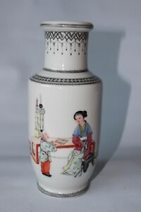 chinese republic vase rouleau shaped porcelain pottery famille rose signed