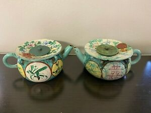 Pair of Glazed Antique Chinese Yixing Zisha Clay Teapots With flower and figures