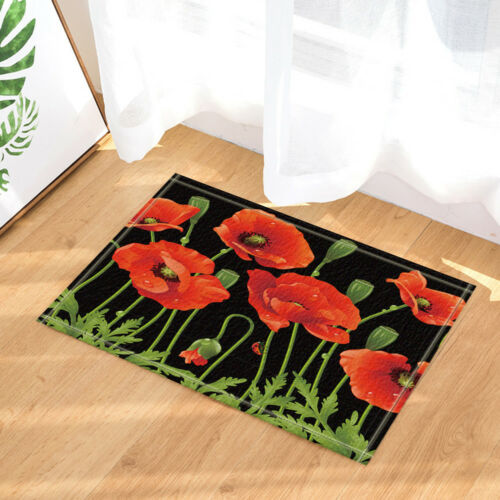 red poppy flower on black fabric bath shower curtain with reinforced grommets bathroom supplies accessories home garden