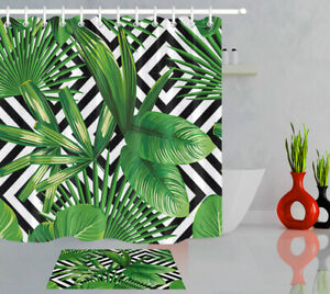 details about black white geometric patterns tropical green leaves fabric shower curtain set